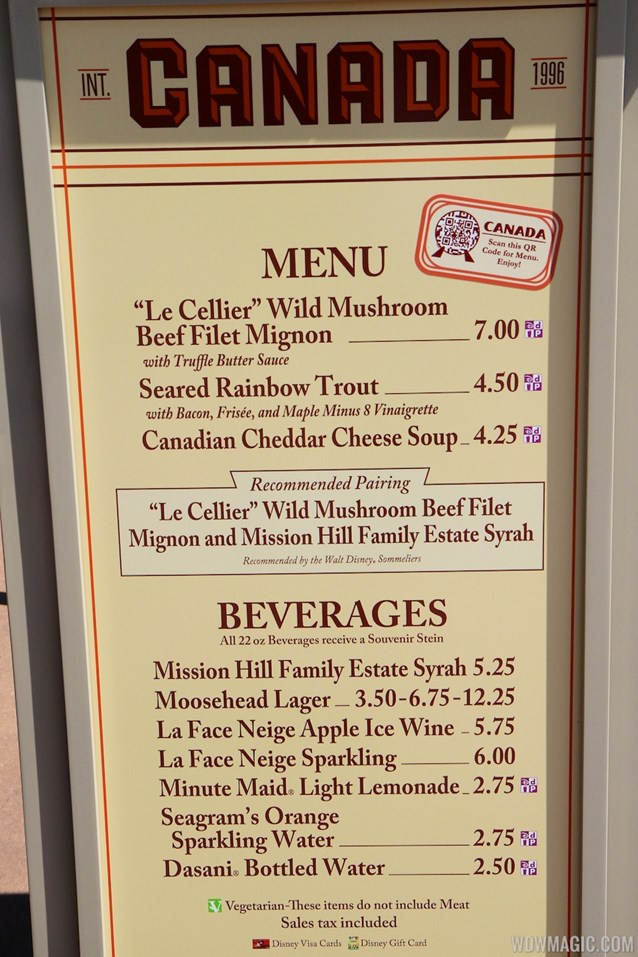 Epcot International Food and Wine Festival - 2013 Epcot International Food and Wine Festival marketplace - Canada menu