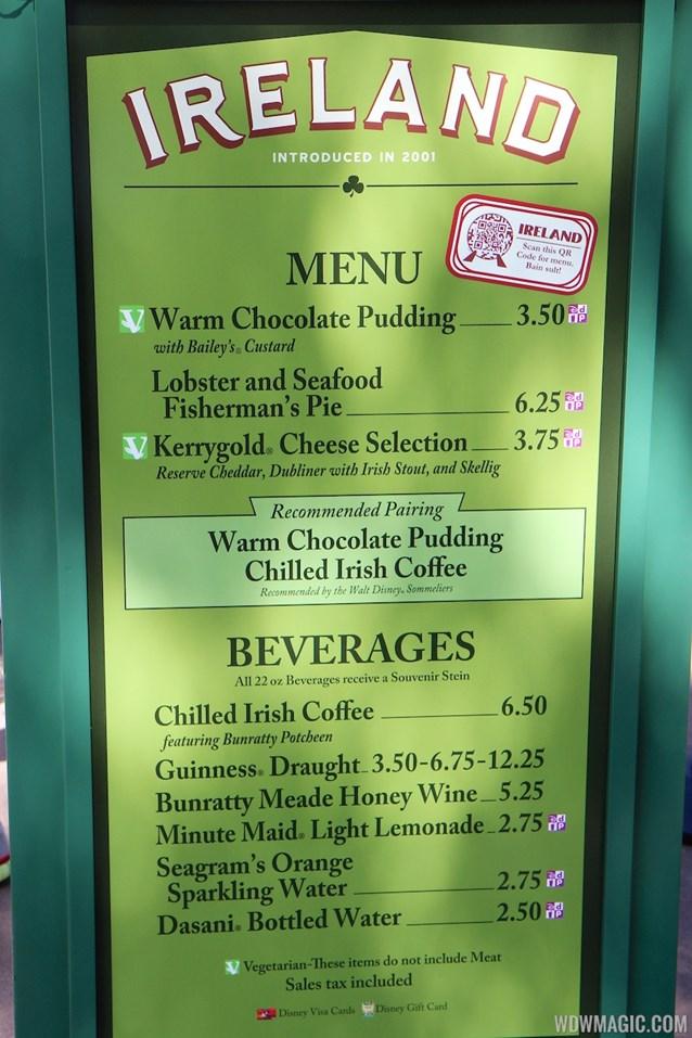 Epcot International Food and Wine Festival - 2013 Epcot International Food and Wine Festival marketplace - Ireland menu