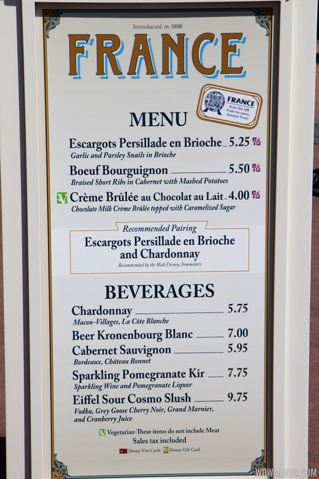 International Food and Wine Festival - 2013 Epcot International Food and Wine Festival marketplace - France menu