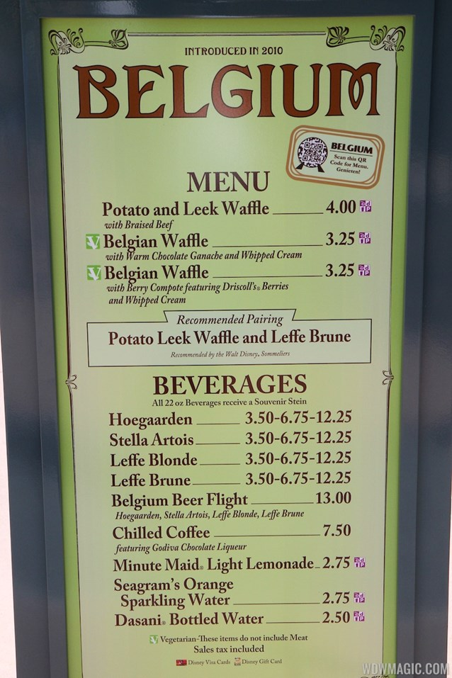 Epcot International Food and Wine Festival - 2013 Epcot International Food and Wine Festival marketplace - Belgium menu