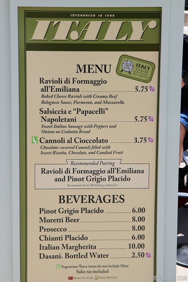 Epcot International Food and Wine Festival - 2013 Epcot International Food and Wine Festival marketplace - Italy menu