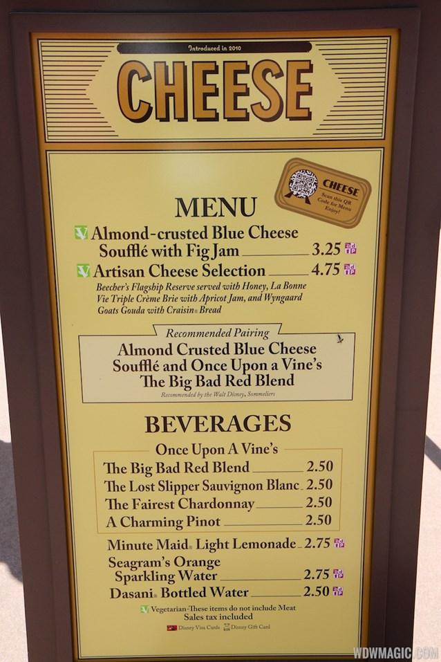 Epcot International Food and Wine Festival - 2013 Epcot International Food and Wine Festival marketplace - Cheese menu