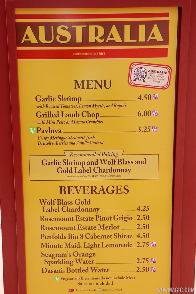 International Food and Wine Festival - 2013 Epcot International Food and Wine Festival marketplace - Australia menu