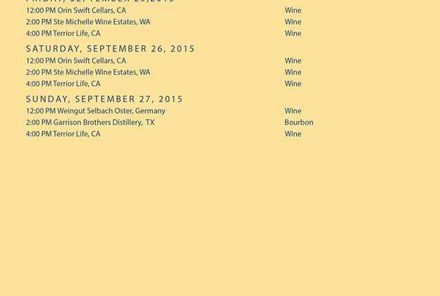 2015 Epcot Food and Wine Festival Beverage Seminars schedule