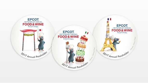 2017 Annual Passholder Food and Wine Festival buttons