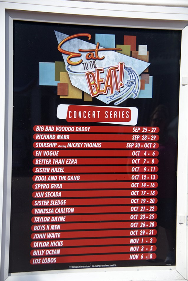 Epcot International Food and Wine Festival - The Eat to the Beat lineup for 2009
