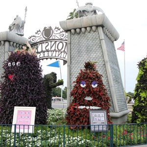 4 of 17: Limited Time Magic - Monsters University Homecoming - Park entrance topiary