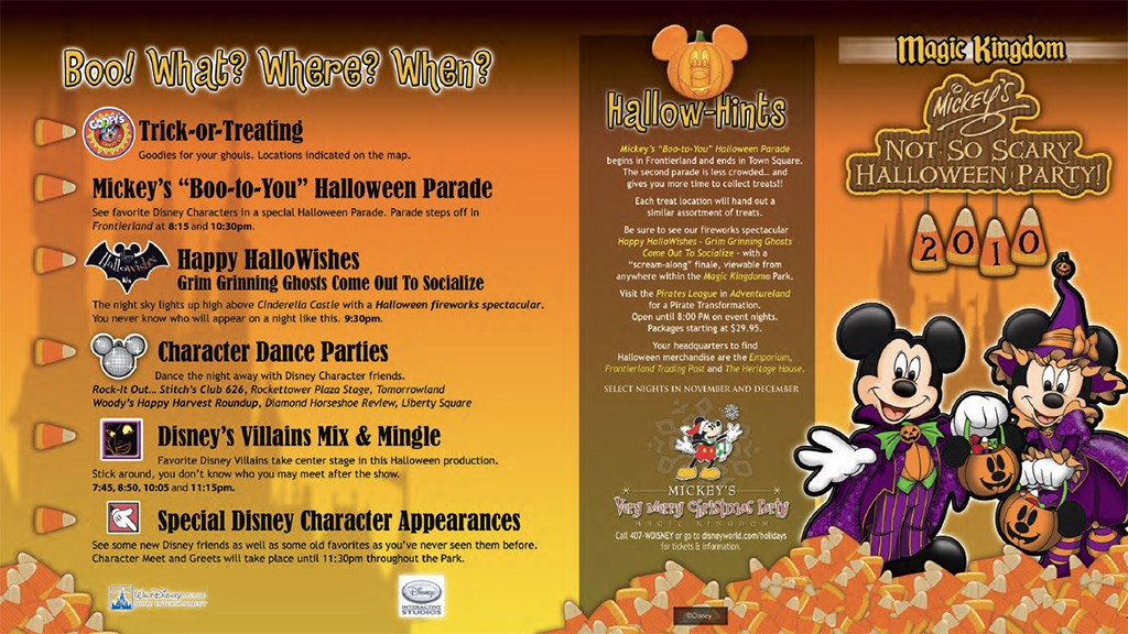 Mickey's Not-So-Scary Halloween Party guide map 2010