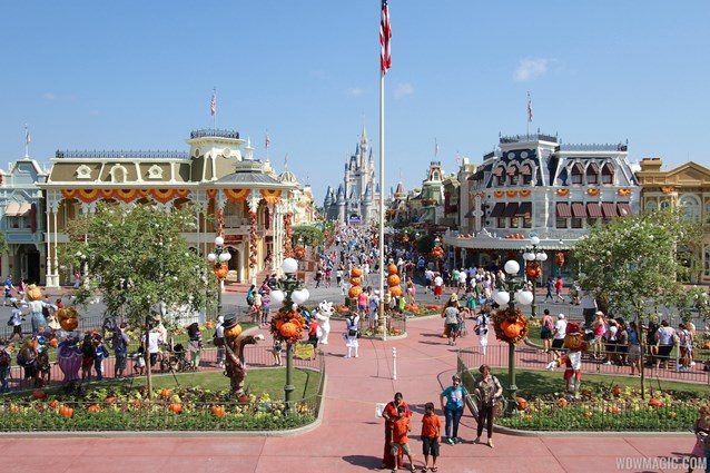 Mickey's Not-So-Scary Halloween Party - Magic Kingdom's 2013 Halloween decorations - A view of Main Street U.S.A from the train station balcony