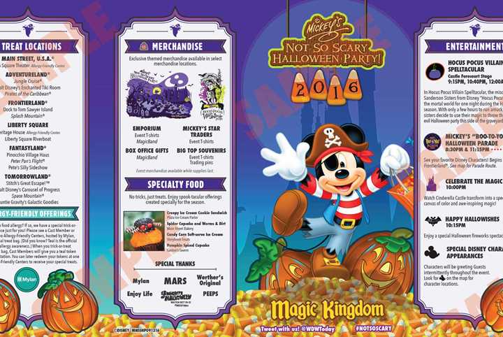 All the details and schedules for the 2016 Mickey's Not-So-Scary Halloween Party nights at the Magic Kingdom