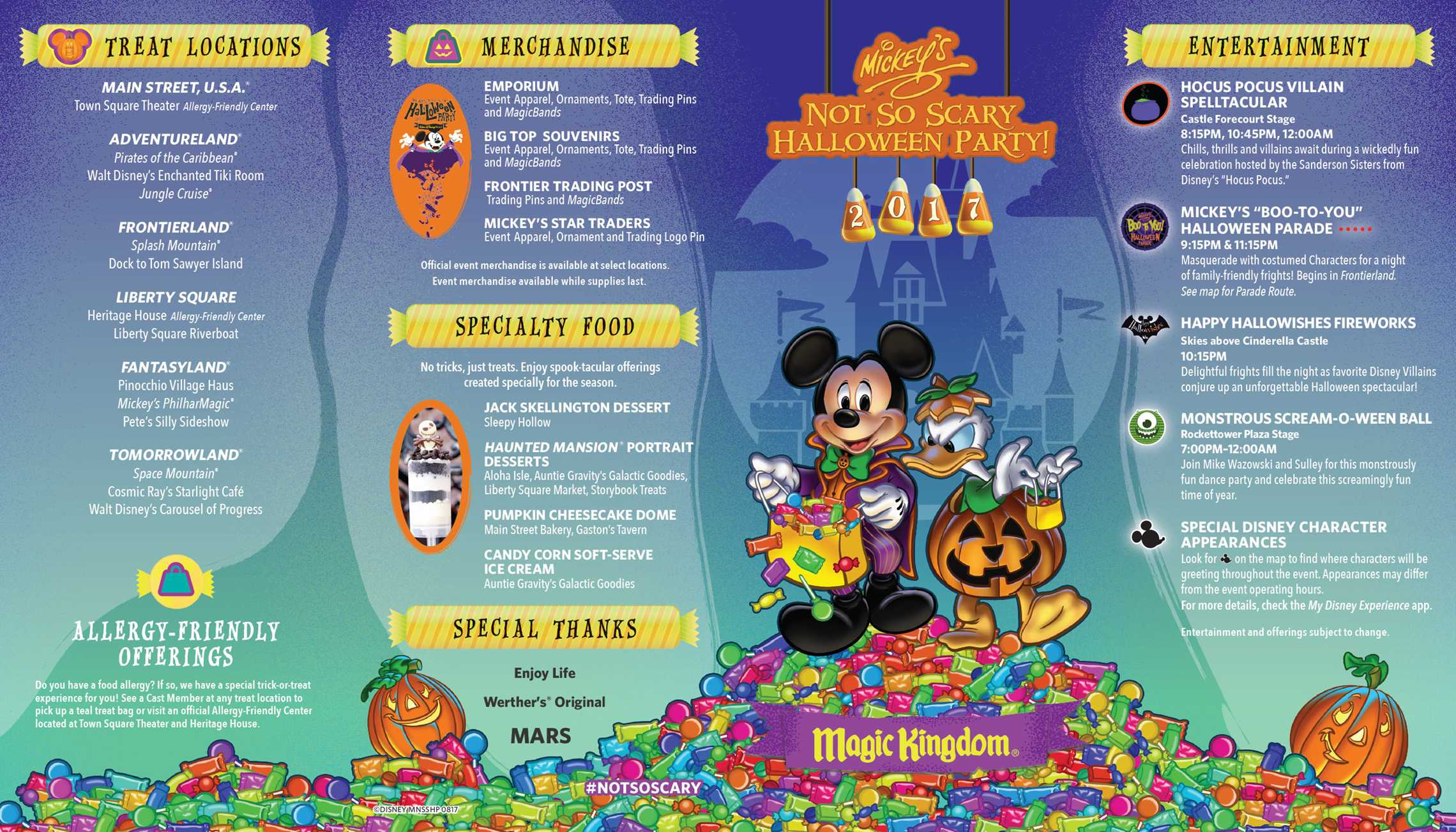 Mickey's Not-So-Scary Halloween Party 2017 guide map - Front