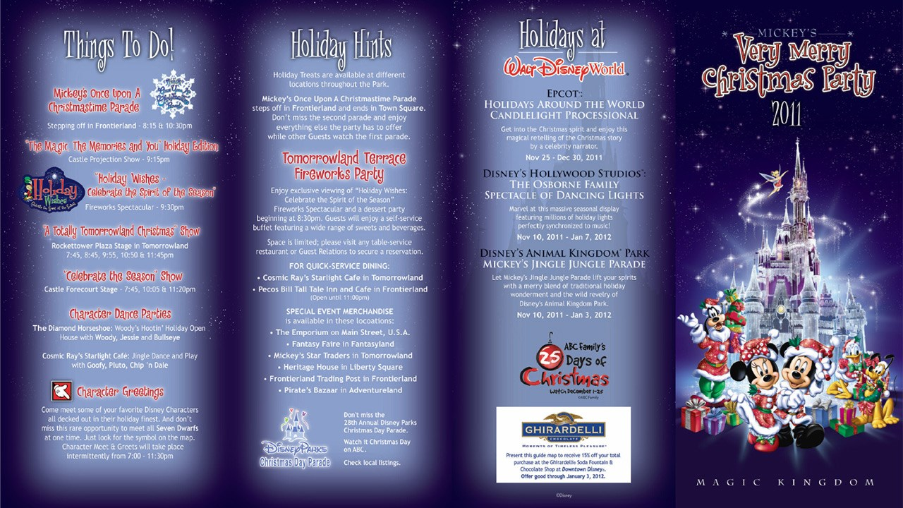 Mickey's Very Merry Christmas Party 2011 guide map