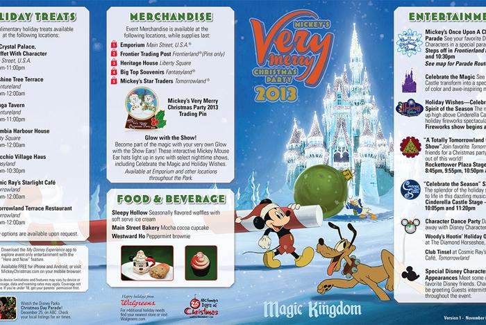 Mickey's Very Merry Christmas Party 2013 guide map