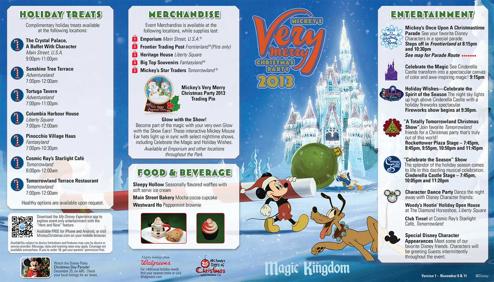 Mickey's Very Merry Christmas Party event guide map front