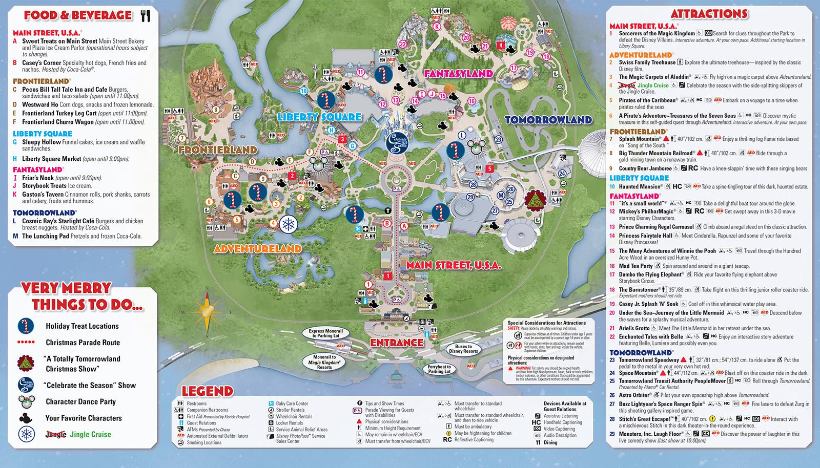 Mickey's Very Merry Christmas Party event guide map back