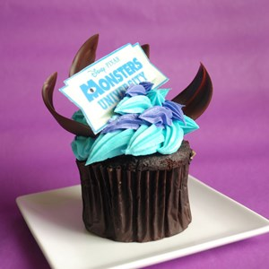 "6 of 7: Monstrous Summer - Monstrous Summer All-Nighter food - Gaston's Tavern chocolate cupcake topped with tasty ""Monsters University"" sweets"
