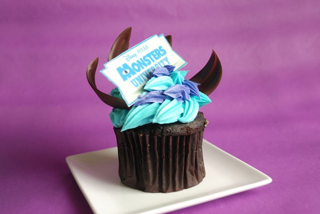"Monstrous Summer - Monstrous Summer All-Nighter food - Gaston's Tavern chocolate cupcake topped with tasty ""Monsters University"" sweets"