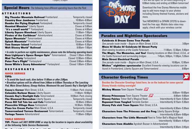 One More Disney Day times guide