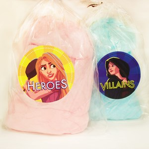 "1 of 6: Rock Your Disney Side 24 Hours - Rock Your Disney Side snacks - Pink and blue cotton candy, themed to ""Heroes and Villains."