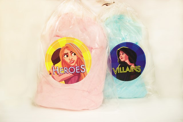 "Rock Your Disney Side snacks - Pink and blue cotton candy, themed to ""Heroes and Villains."