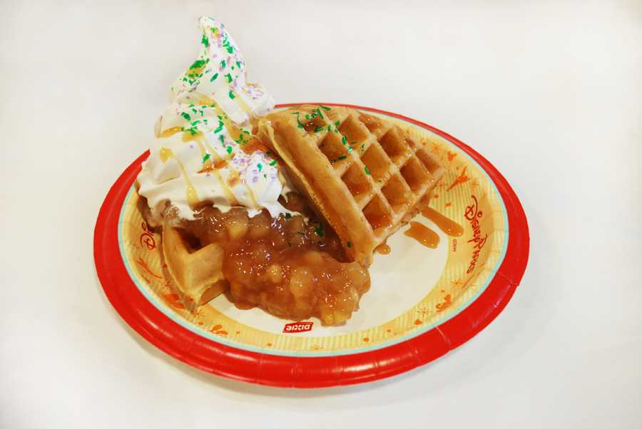 Rock Your Disney Side snacks - Poisoned Apple Waffle Sundae - waffles with stewed apple topping and whipped cream