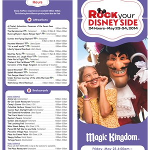 1 of 2: Rock Your Disney Side 24 Hours - Rock Your Disney Side 24 hour event times guide - front