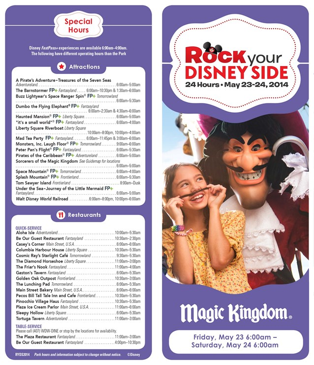Rock Your Disney Side 24 Hours - Rock Your Disney Side 24 hour event times guide - front