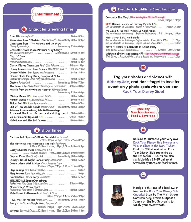 Rock Your Disney Side 24 Hours - Rock Your Disney Side 24 hour event times guide - back
