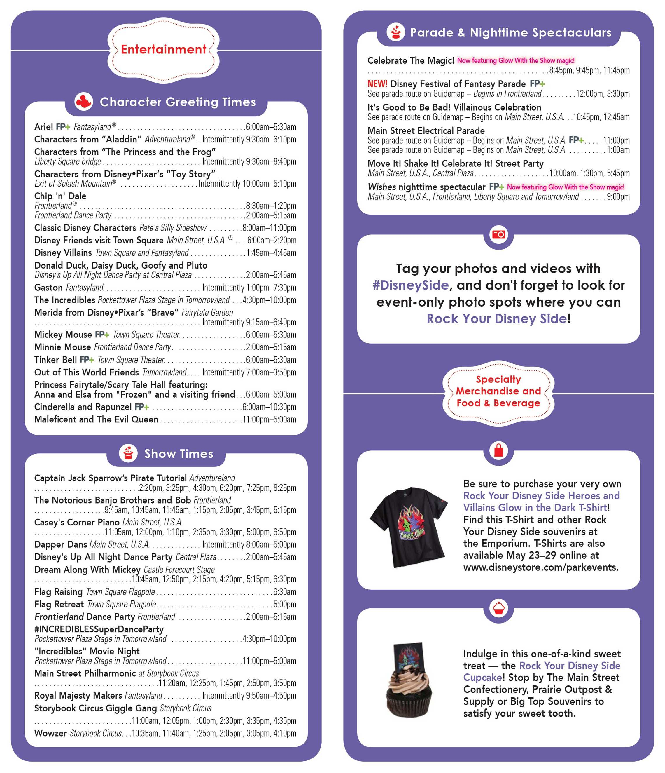 Rock Your Disney Side 24 hour event times guide - back