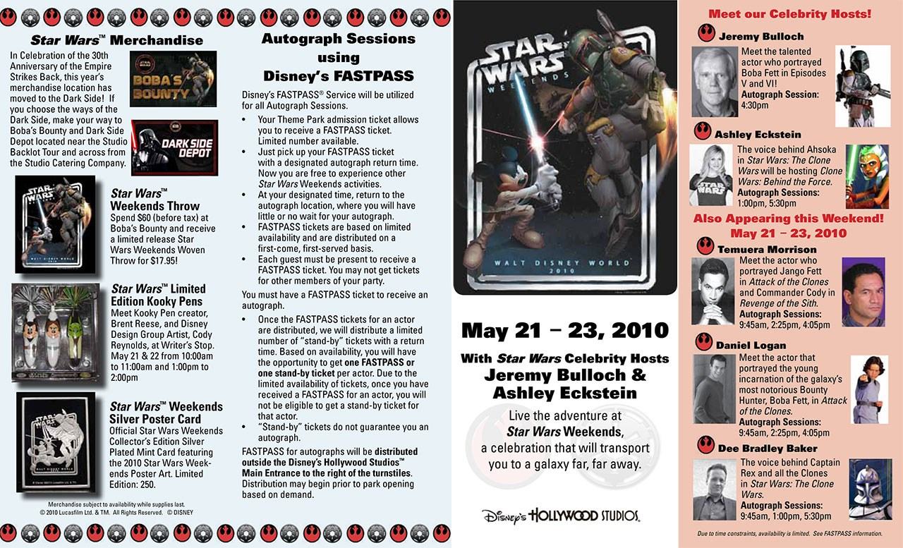 2010 Star Wars Weekends guide map