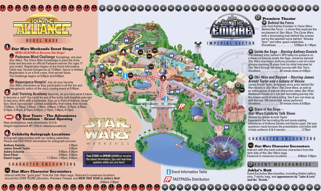 2011 Star Wars Weekends opening day guide map