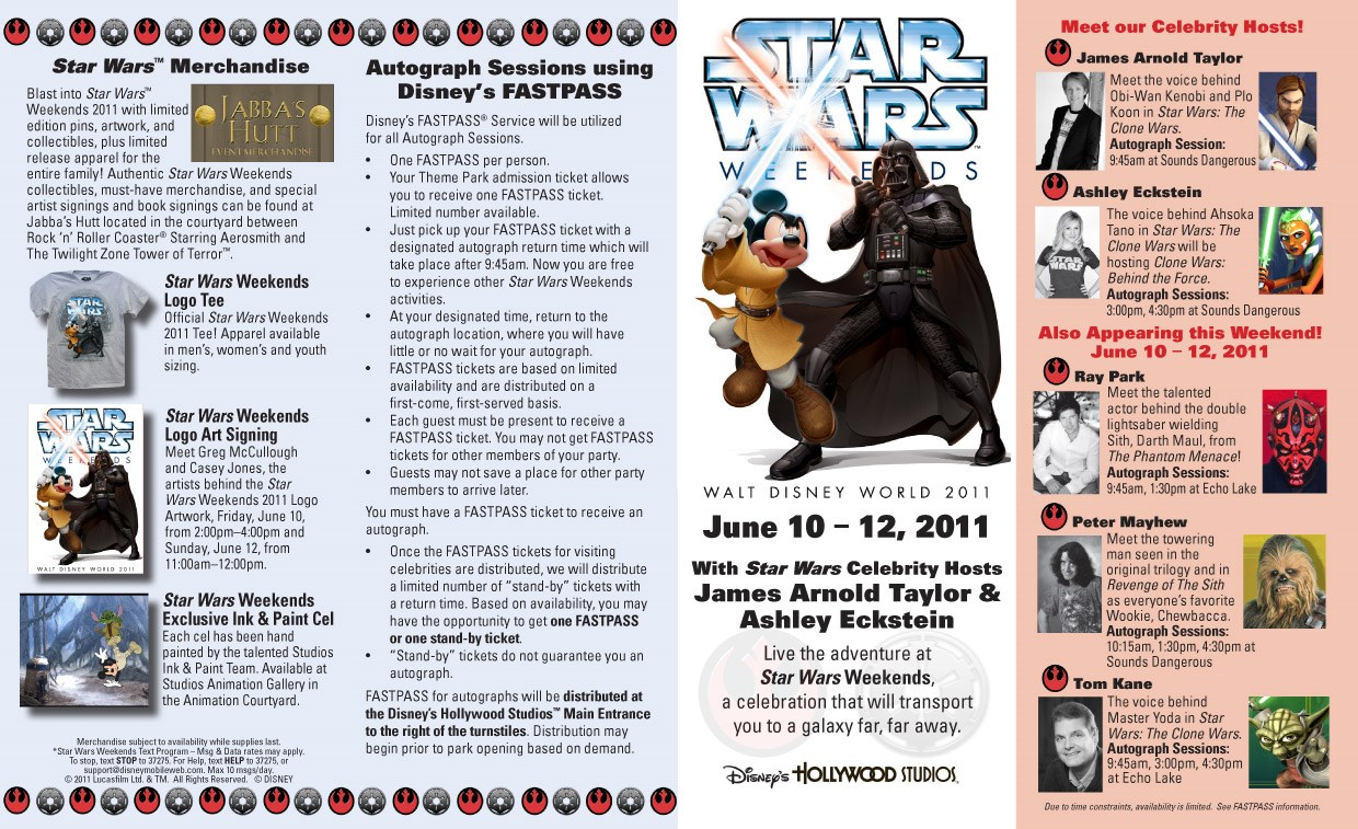 2011 Star Wars Weekends June 10-12 guide map
