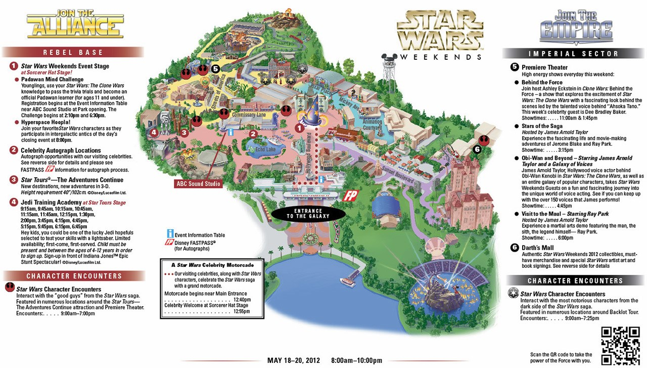 2012 Star Wars Weekends May 18-20 guide map