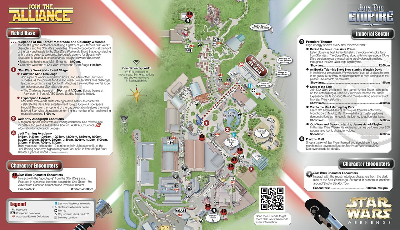2013 Star Wars Weekends May 24-26 guide map