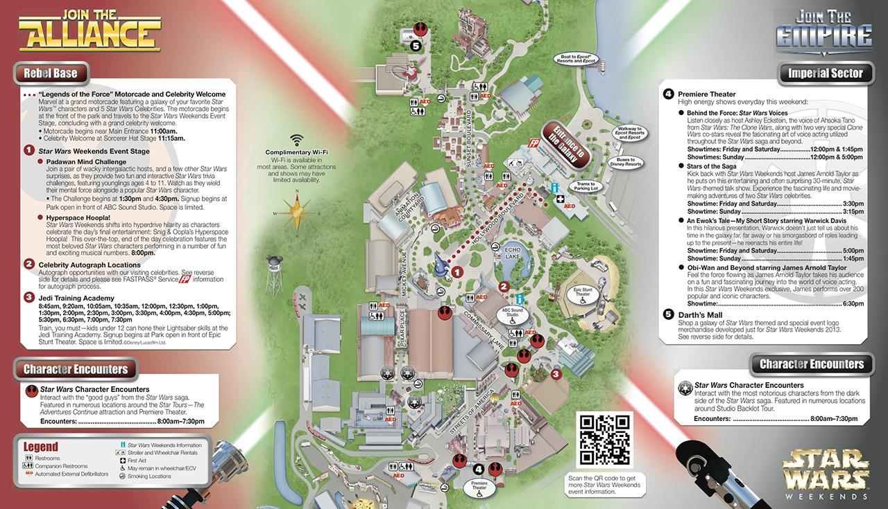 2013 Star Wars Weekends May 31-June 2 guide map