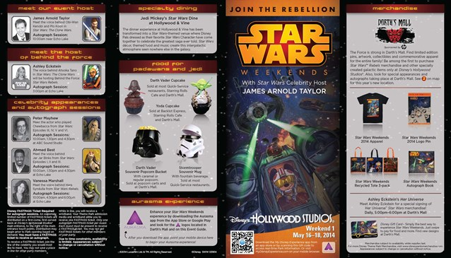 Star Wars Weekends - 2014 Star Wars Weekends May 16-18 Weekend 1 guide map - front