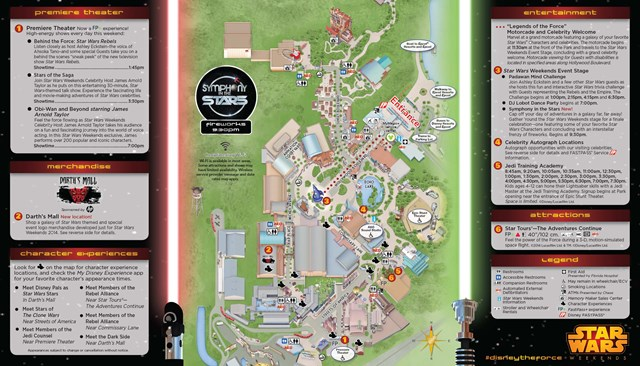 2014 Star Wars Weekends May 16-18 Weekend 1 guide map - back