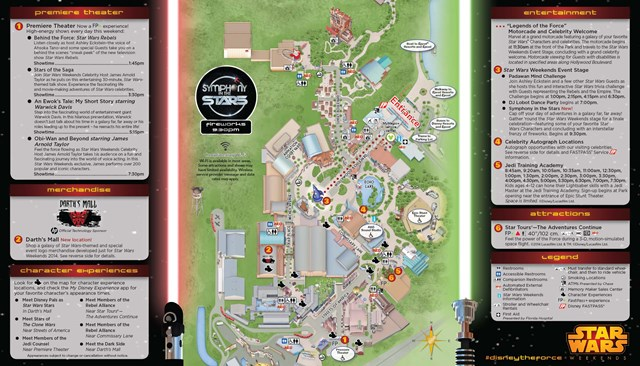 2014 Star Wars Weekends May 23 - 25 Weekend 2 guide map back