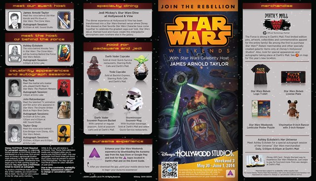 2014 Star Wars Weekends May 30 - June 1 Weekend 3 guide map front