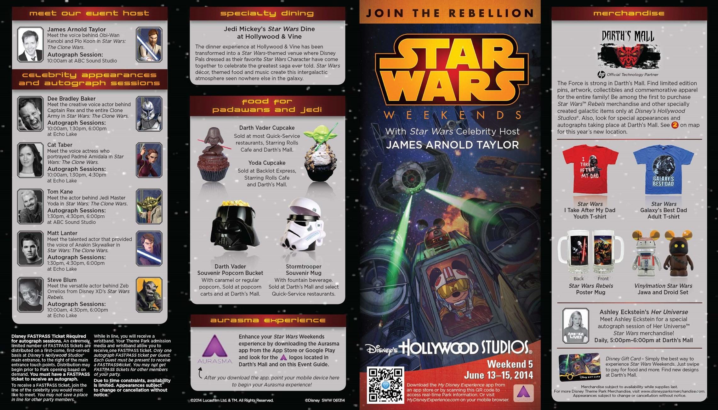 2014 Star Wars Weekends June 13 - 15 Weekend 5 guide map