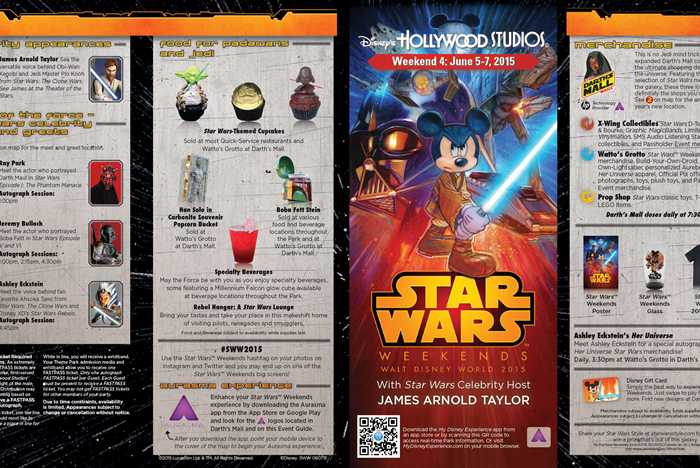 2015 Star Wars Weekends June 5 - 7 Weekend 4 guide map
