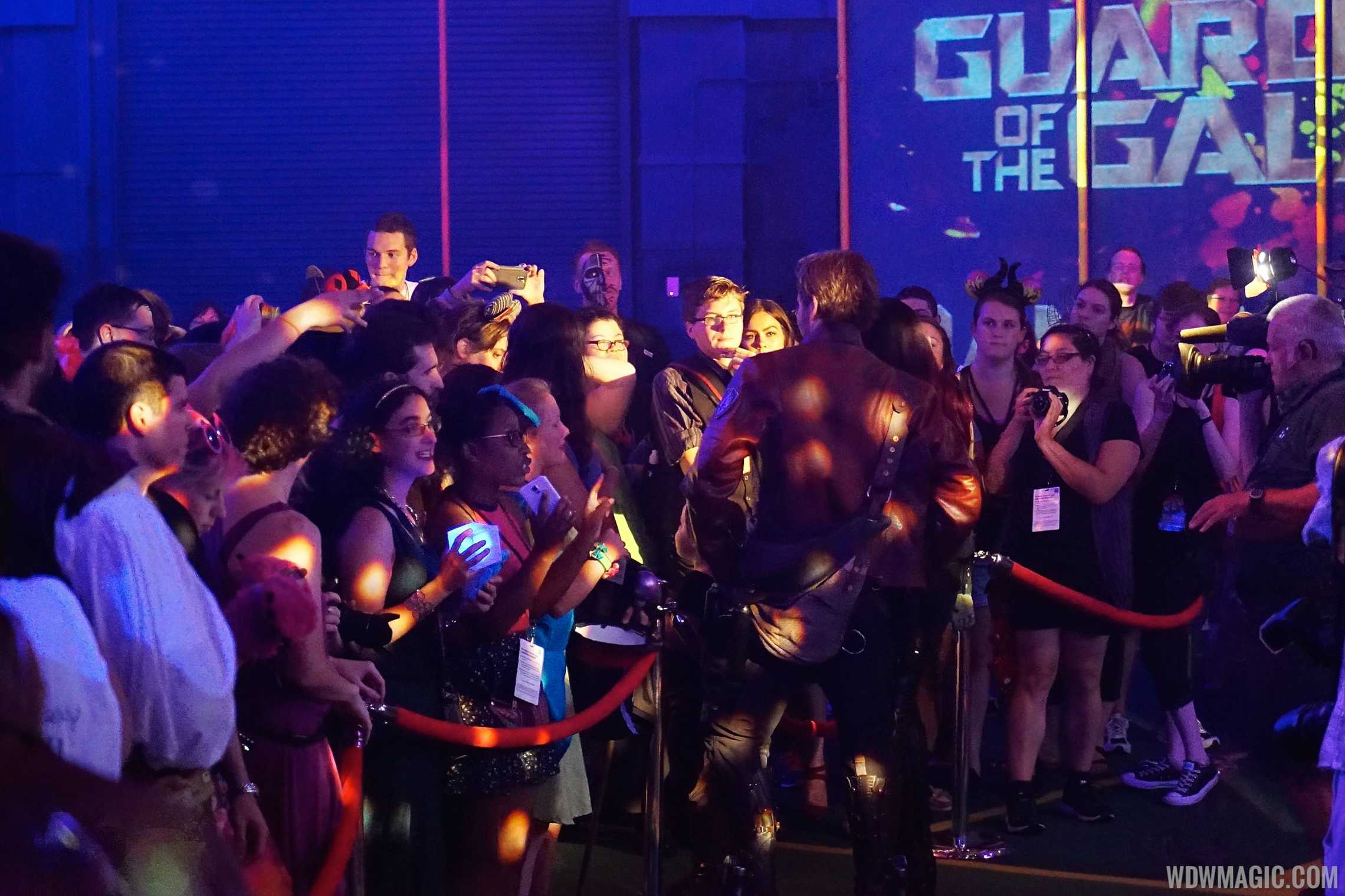 Gamora and Star Lord meet guests