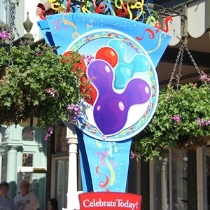 2 of 2: What Will You Celebrate? - Celebrate Today banners in the Magic Kingdom