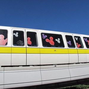 1 of 1: What Will You Celebrate? - Celebrate Today graphics on the monorails