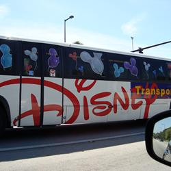 Celebrate Today graphics on Disney buses