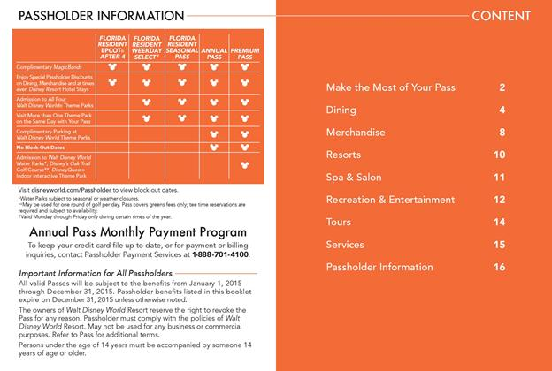 2015 Passholder Benefits Guide