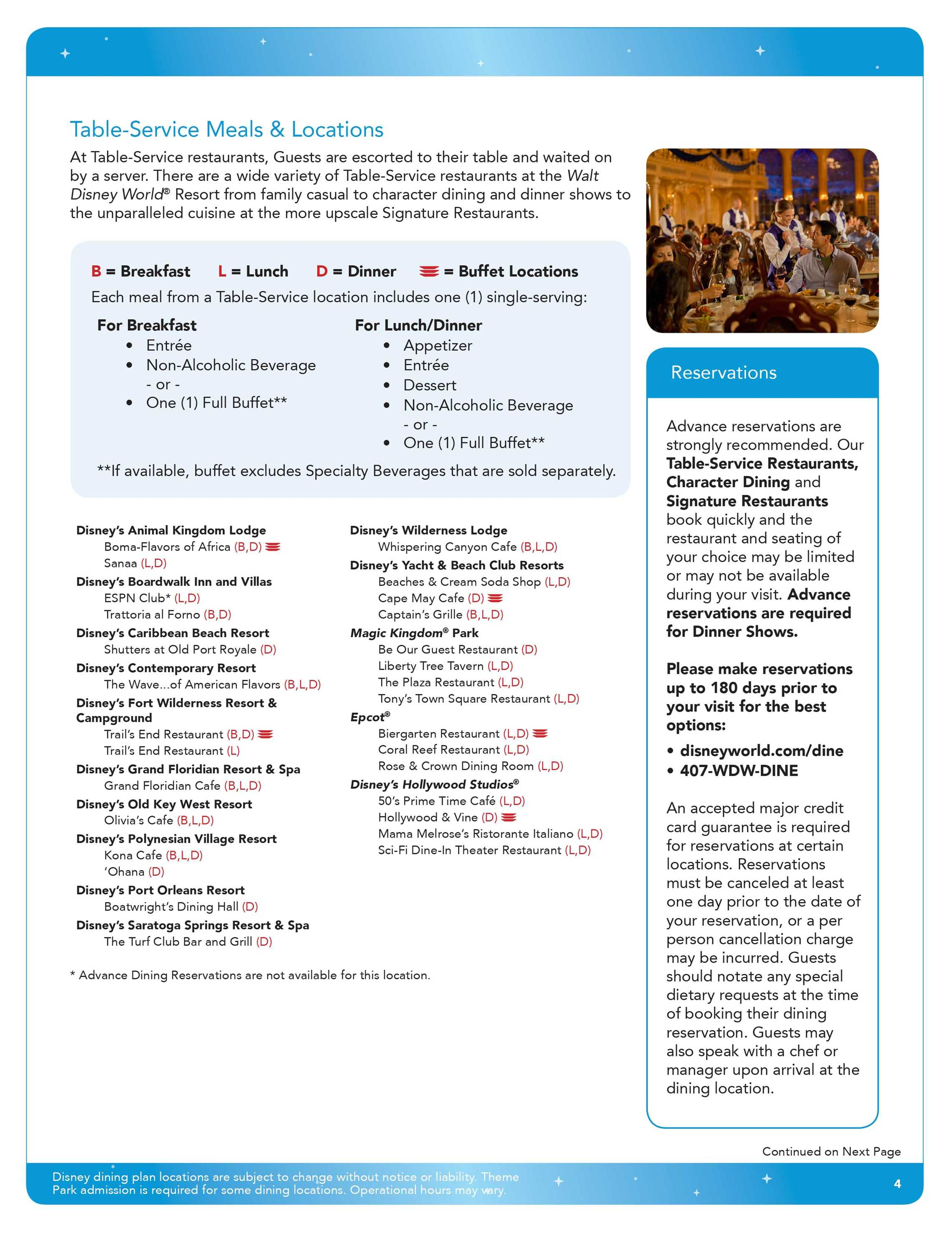 2016 Disney Deluxe Dining Plan brochure - Page 4