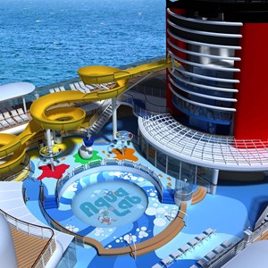 3 of 7: Disney Magic - In the new Aqua Lab water playground on the Disney Magic, families can frolic among pop jets, geysers and bubblers. Interactive games keep the kids moving, while the Twist n' Spout water slide gets them delightfully drenched.