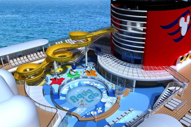 Disney Magic - In the new Aqua Lab water playground on the Disney Magic, families can frolic among pop jets, geysers and bubblers. Interactive games keep the kids moving, while the Twist n' Spout water slide gets them delightfully drenched.