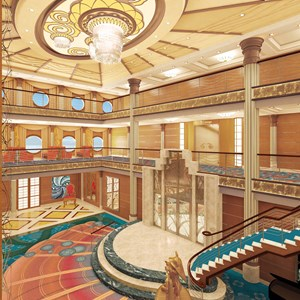 4 of 7: Disney Magic - The grand atrium lobby on the Disney Magic, inspired by elegant art deco and elements of the sea, features a palette of vibrant coral, blue and aquamarine, a dazzling new chandelier and a grand staircase. Exuding the elegance of the early 20th century ocean liners, the redesigned Disney Magic atrium will be complete after the ship undergoes dry dock this fall.